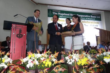 Golden Jubliee Celebration- Assam State Apex Bank MD being welcomed by Hon'ble BOD Mr. Bendangnukshi Longkumer